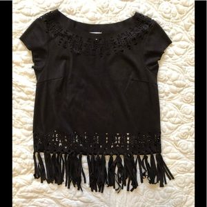 Black fringe shirt medium